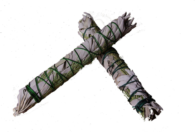 2 Stk Zeder- und Weißer Salbei Räucherbündel L  22 cm (9 Inch)  (Smudge Stick large)
