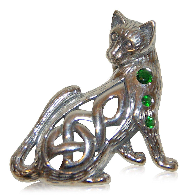 Kettenanhänger mystische Katze mit keltischem Detail, aus echtem Sterling Silver (Magic Cat)