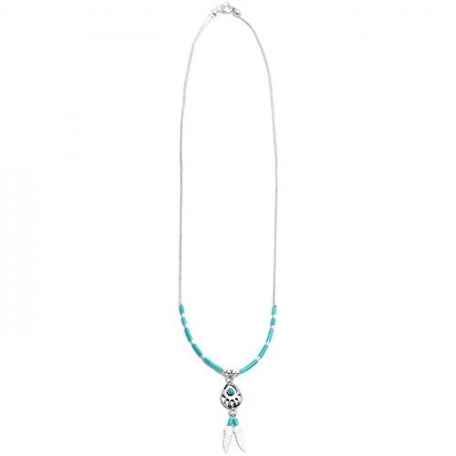 Halskette mit einer Bärentatze und Federn  (Handarbeit aus echtem Sterling Silver 925)