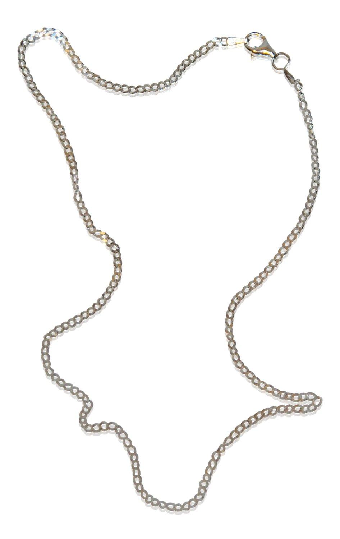Halskette, dezente Panzerkette, echt Silber 925 Sterling, 50cm lang