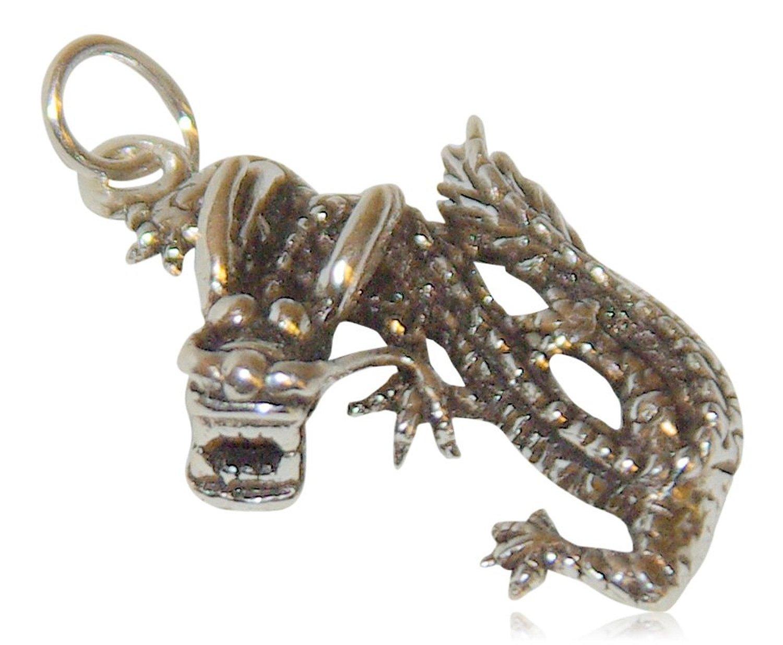 Kettenanhänger Drache, asiatisch mit Flügeln aus echtem Sterling Silber 925
