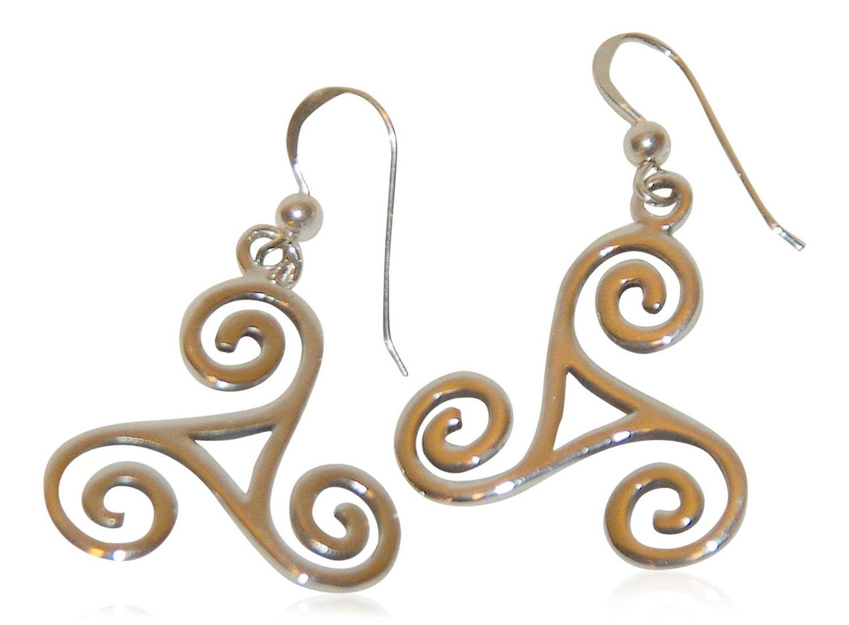 Besondere Ohrringe mit klassisch / besonderen Symbolen aus echtem Sterling Silver (Triskelle)