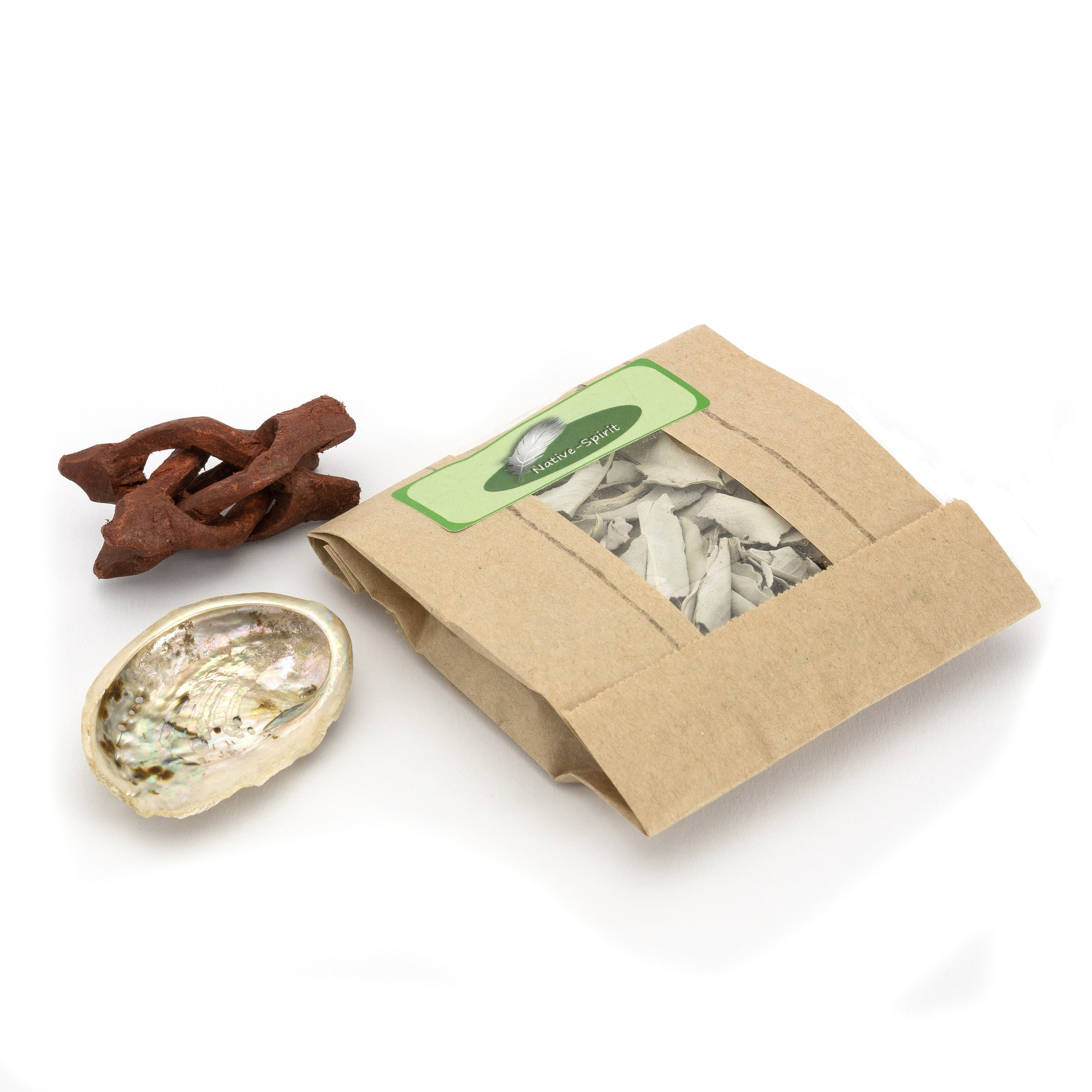 Mini Räucherset: Weißer Salbei, Abalone-Muschel (klein) und kleinem Dreibein (Tripod Cobra) aus Holz
