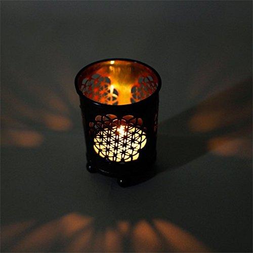 Kerzenleuchter 'Flower of life' - Blume des Lebens - ein tolles Licht fuer lange Abende - fuer Teelicht (6x5cm, bronze)