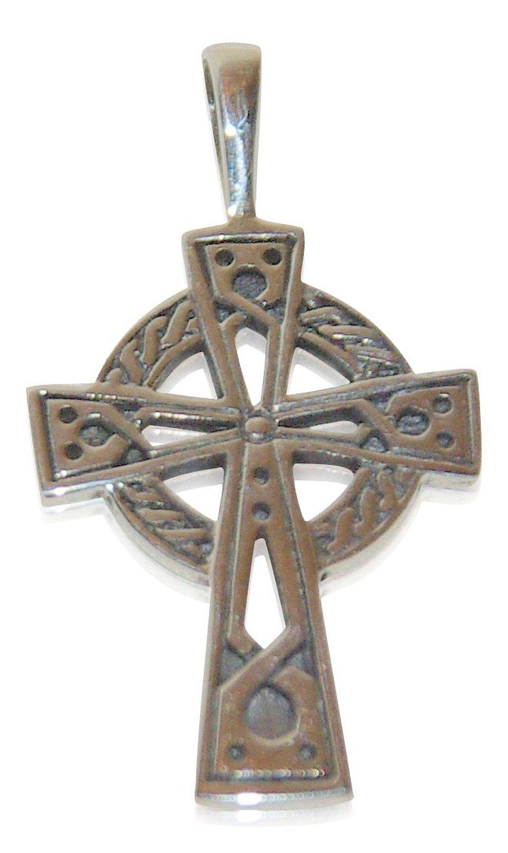 Keltisches Kreuz mit Gravur als Kettenanhänger aus echtem Sterling Silber (Engraved Celtic Cross)