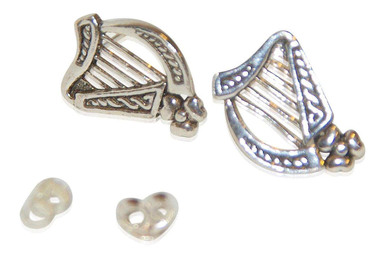 Besondere Ohrringe mit klassisch / besonderen Symbolen aus echtem Sterling Silver (Harfe m.keltische