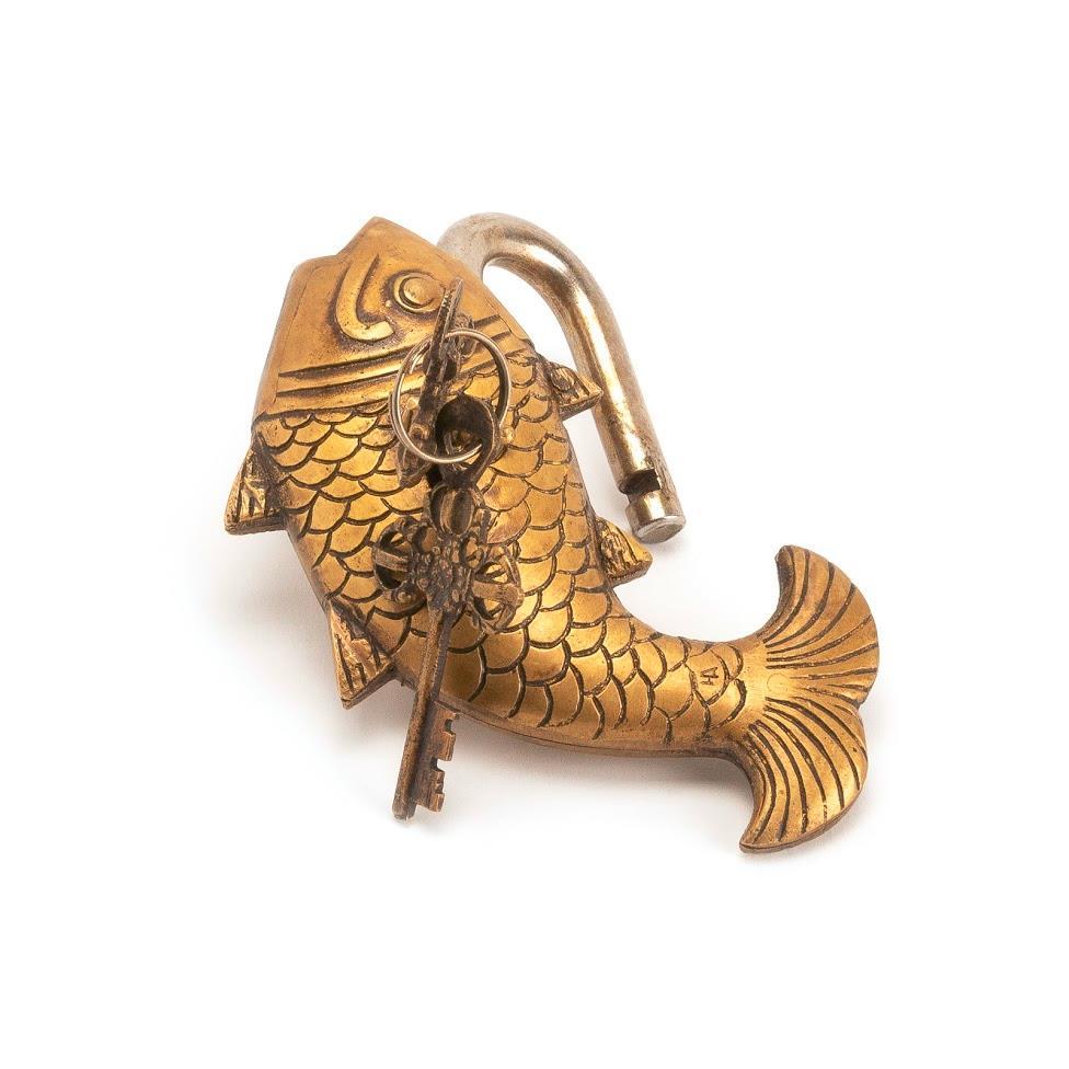 Tibetisches Schweres Schloss Antikoptik in Form eines Fisches Vintage Messing - Antique Lock