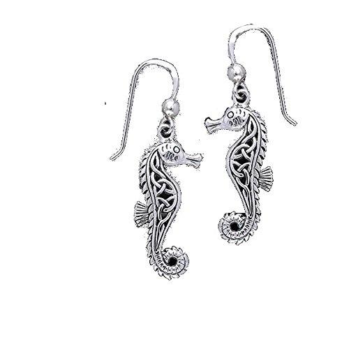Ohrringe Seepferdchen m. keltischen Knoten aus 925 Sterling Silber