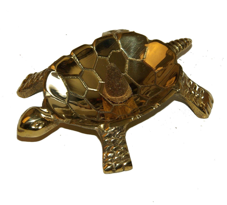 Schildkroete 'Turtle' Raeucherschale Raeuchergefae 10x6 cm aus edlem Messing raeuchern mit Kohle mit kleinen farbigen Akzenten