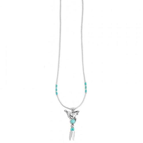 Fein gearbeitete Halskette mit Pferde - Pendant von Navajo Indianern (aus hochwertigem Sterling Silv
