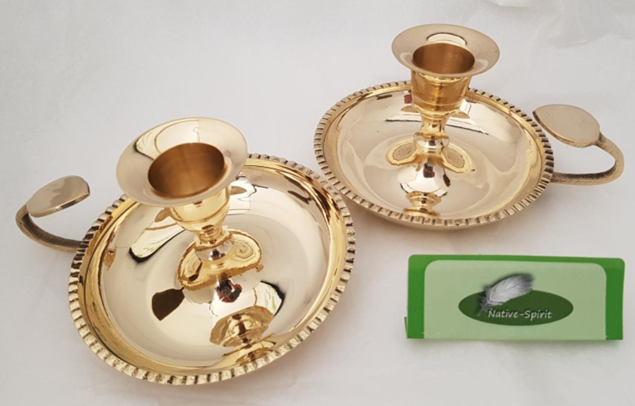 2er-Set Nachtleuchter im Stil von Biedermeier - 6,5cm hoher und hochwertig gearbeiteter Kerzenleucht